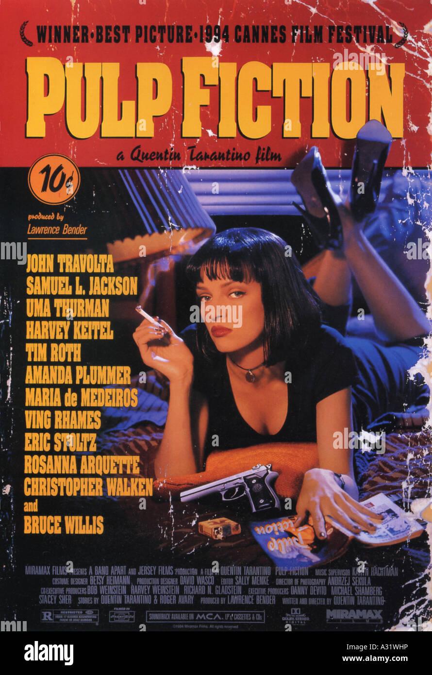 PULP FICTION Poster für das Jahr 1994 Buena Vista/Miramax film mit Uma Thurman, Regie: Quentin Tarantino Stockbild