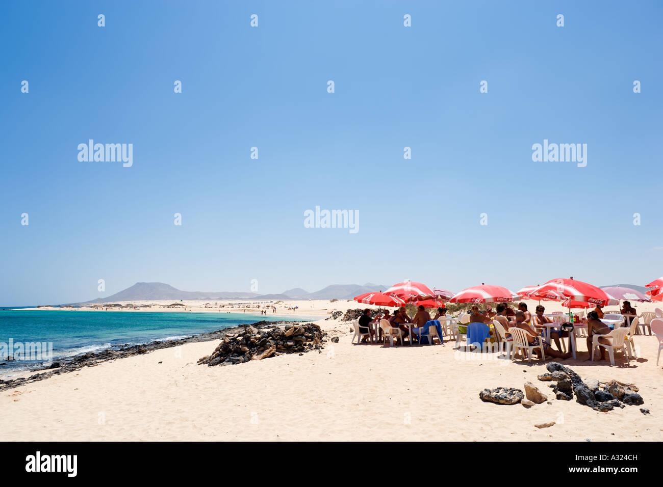 Strandbar, Parque Natural de Corralejo, Fuerteventura, Kanarische Inseln, Spanien Stockbild