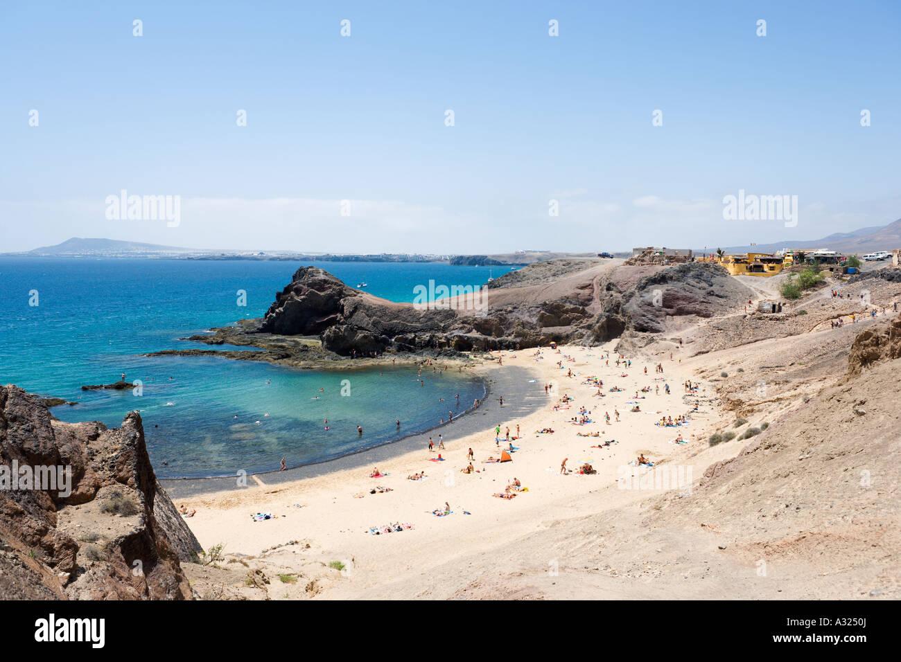 Playa de Papagayo in der Nähe von Playa Blanca, Lanzarote, Kanarische Inseln, Spanien Stockbild