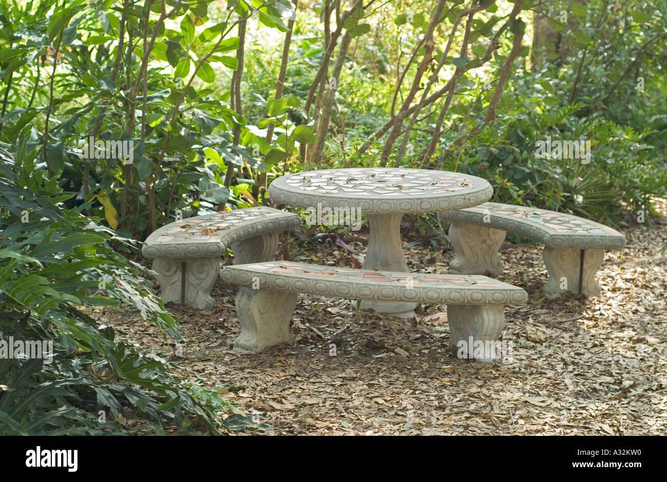 Legen Sie Konkrete Picknick Tisch Gartentisch Sitzen Platz Tische