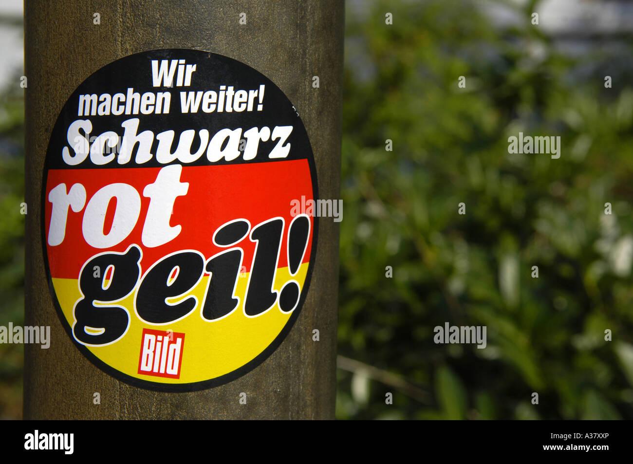 Schwarz Rot Geil schwarz rot gelber Aufkleber deutsche Flagge Deutschland Deutsch Deutschland Redaktion Stockfoto