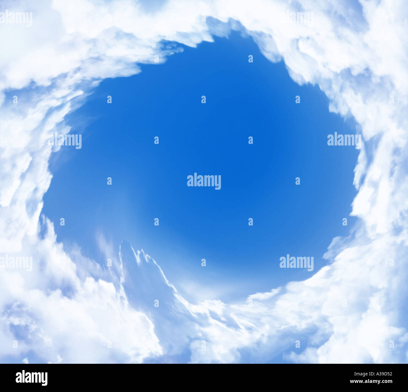 Energiewirbel aus Wolken Auge des Hurrikans Stockbild
