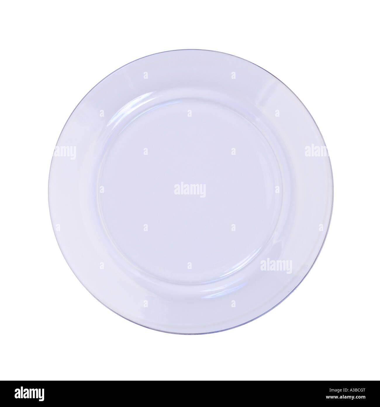 Klare Glasplatte auf nahtlose weiß Stockbild