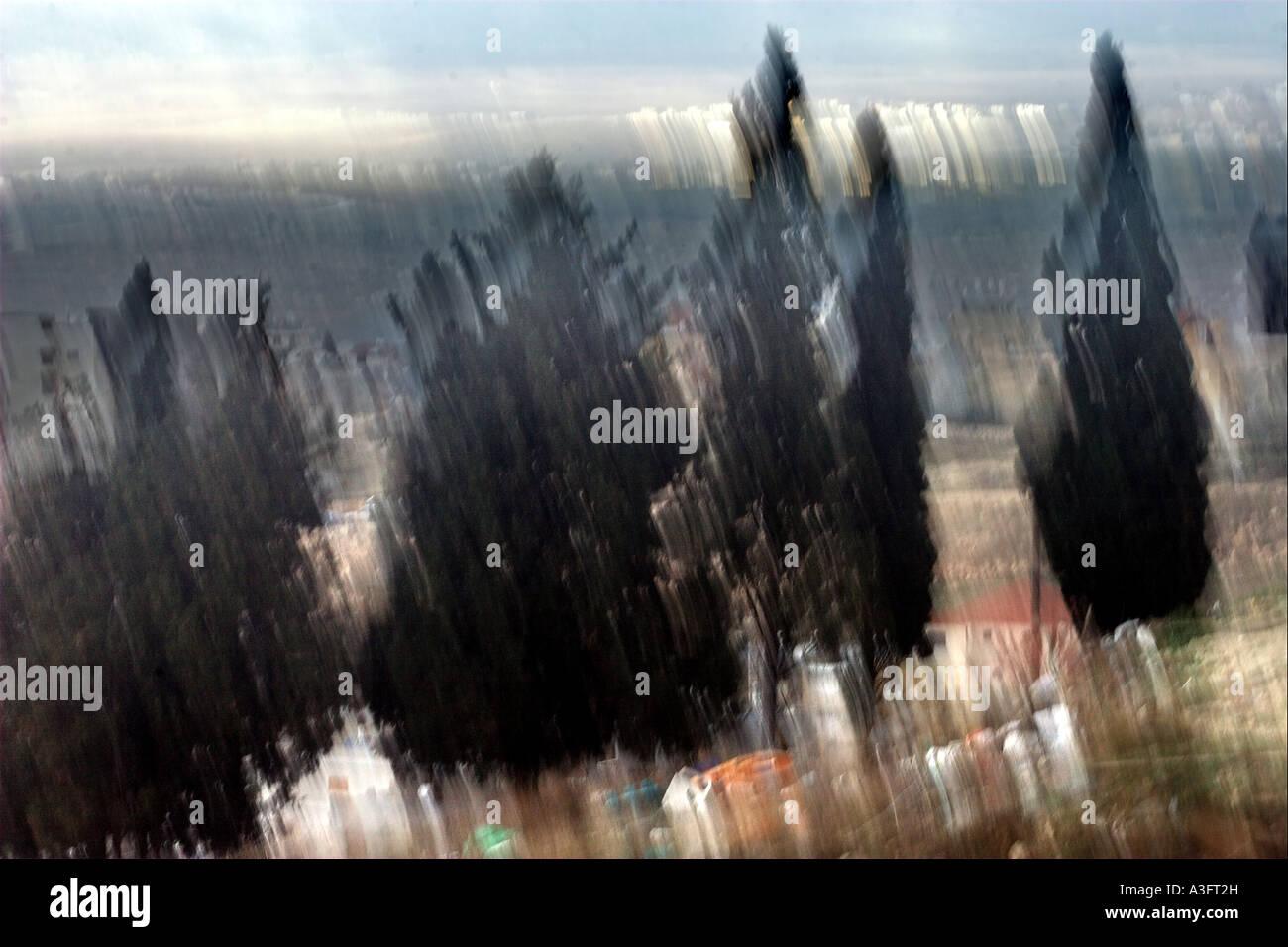 Israel die unteren Galiläa ein Blick von Nazareth digital manipuliert Bild mit Bewegungsunschärfe und Stockbild