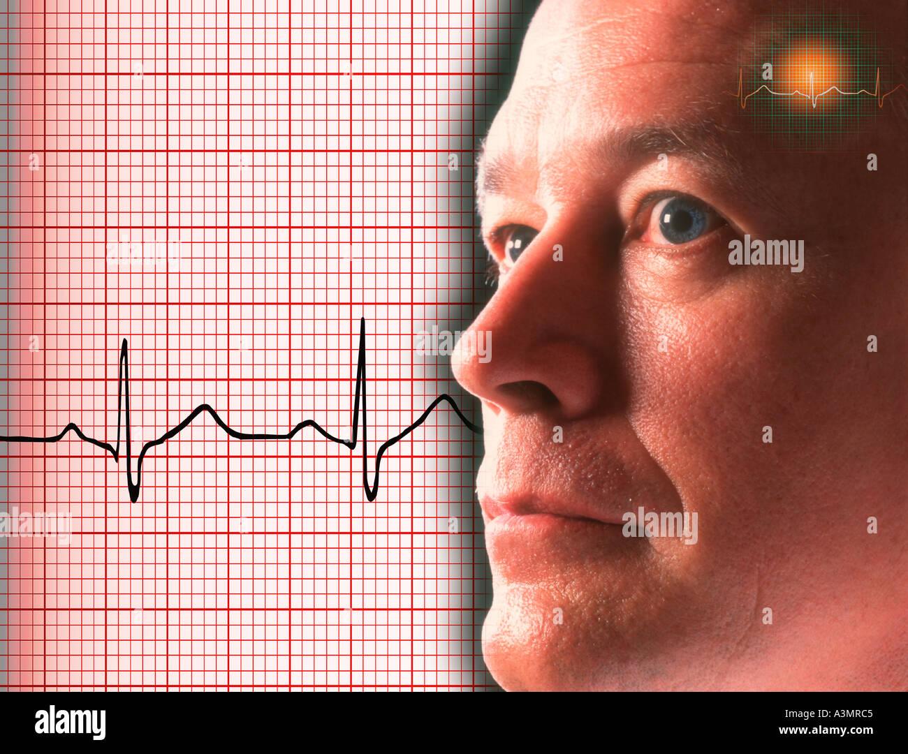 Konzept-Bild des Arztes mit Elektrokardiogramm Hintergrund Stockbild