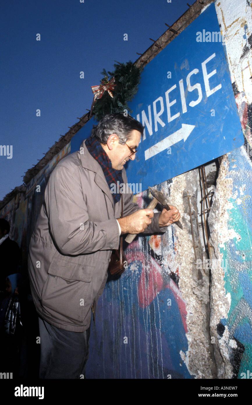 Berliner Mauer Vereinigung von East West Deutschland 1989 Stockbild