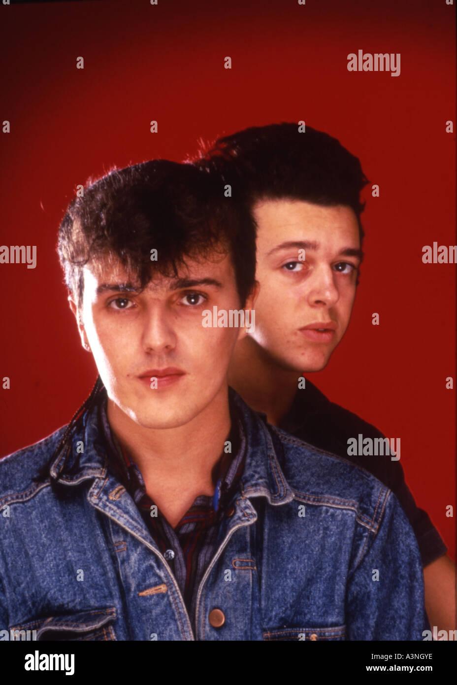 Tränen für Ängste UK 80er Jahre Gruppe mit Roland Orzabal und Curt Smith auf der linken Seite Stockbild