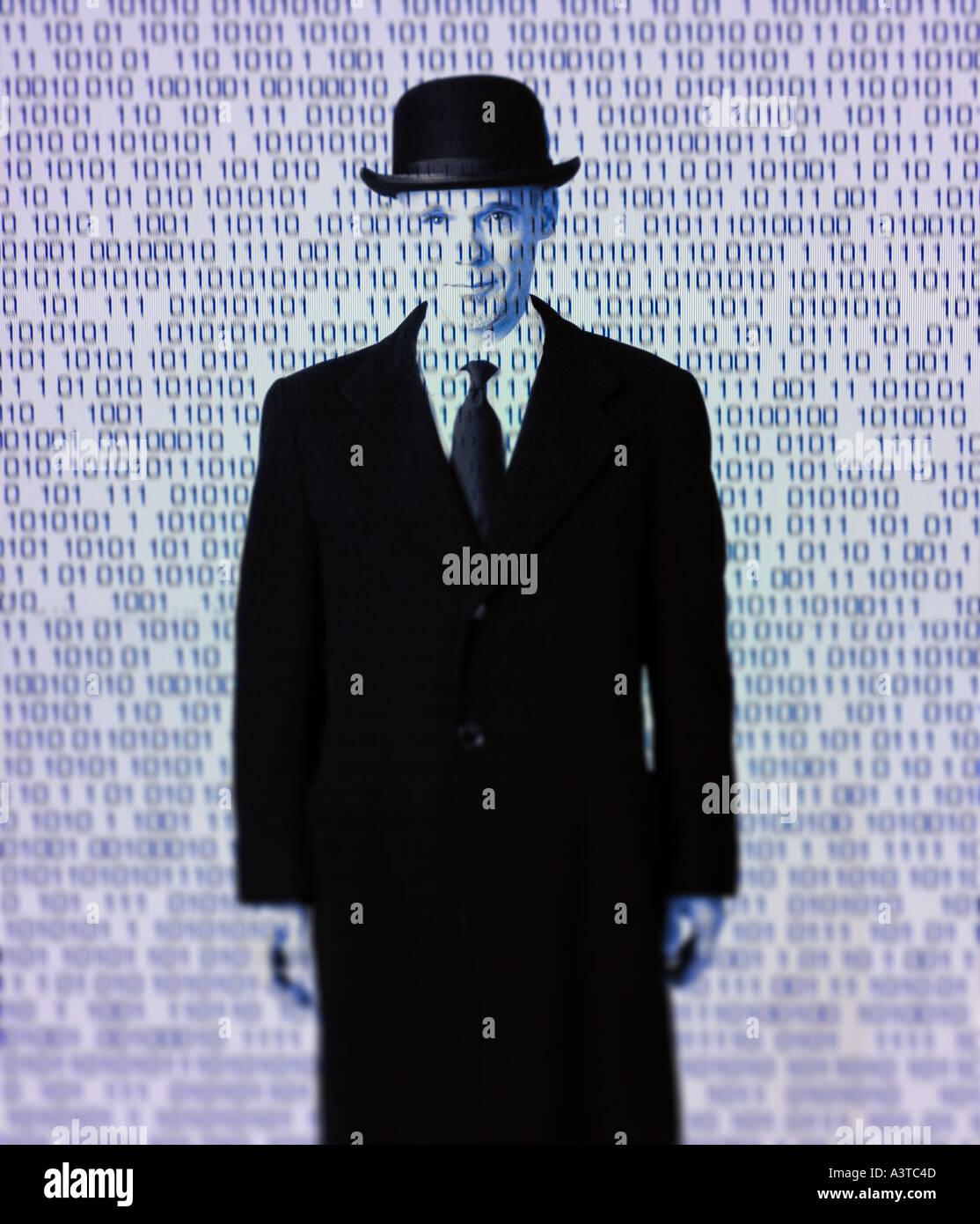 Mann in der Melone mit binären Informationen Computercode als Rene Magritte Stil Hommage Computer Roboterkonzept Stockbild