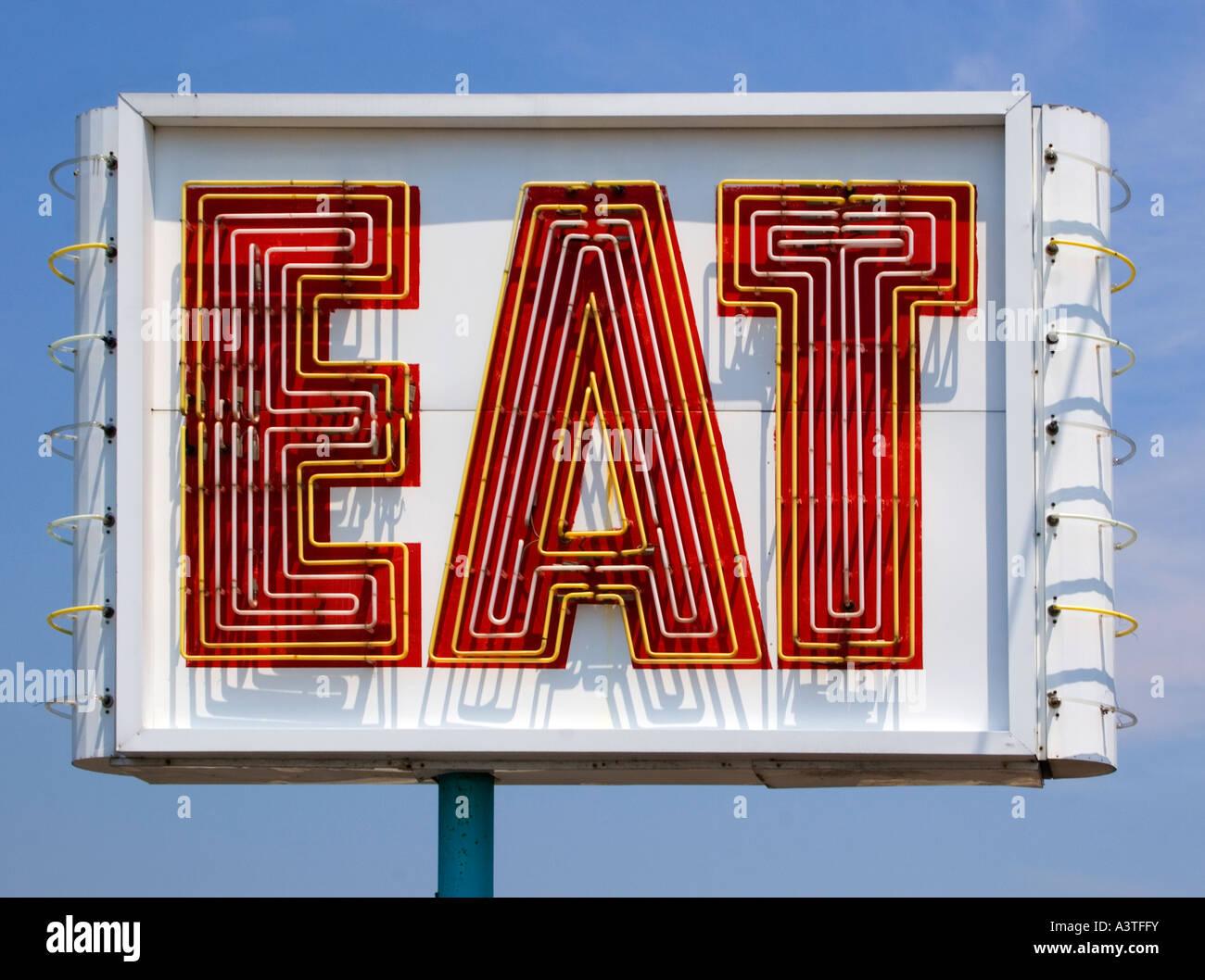 Zeichen vor einem Restaurant in Saugus Massachusetts Essen Stockbild