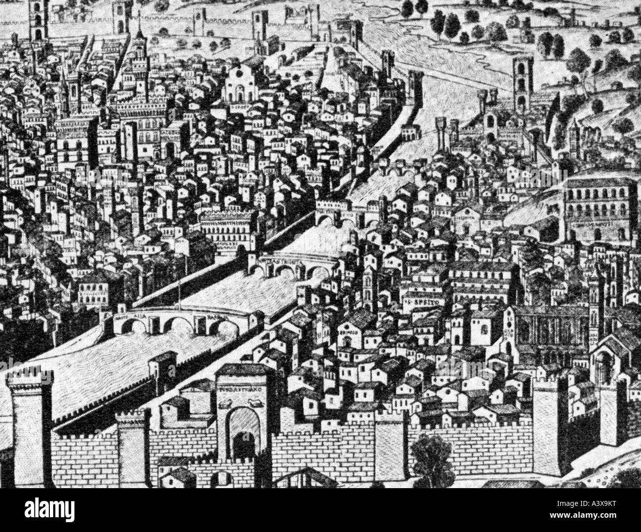 Geographie/Reisen, Italien, Florenz, Aussicht, Holzschnitt ca. 1490, Additional-Rights-Spiel-NA Stockbild
