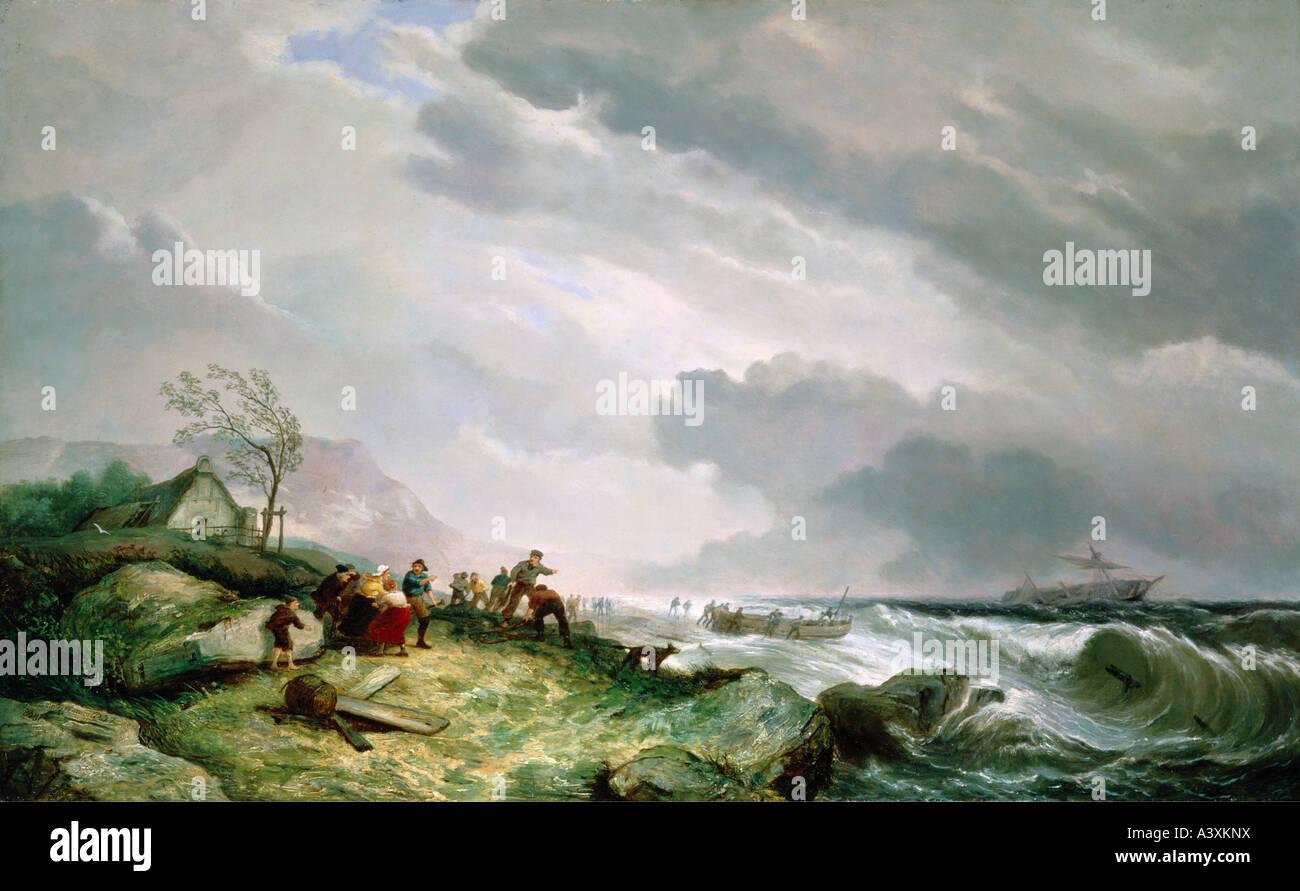 """""""Fine Arts, Dommersen, Cornelis Christ, (1842 ? 1928), Malerei,""""Schiff in Not"""", 1868, Öl auf Stockbild"""