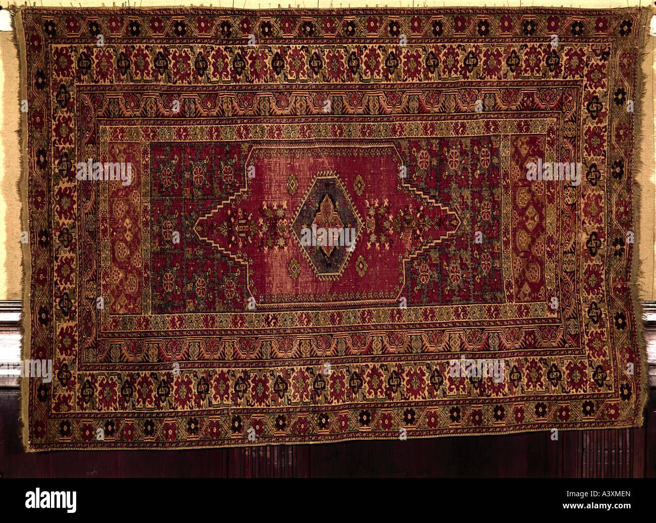 Bildende Kunst, islamische Kunst, Teppiche und Stoffe, Ghiordes Odschalik, Türkei, 18 Jahrhundert, historische, Stockbild