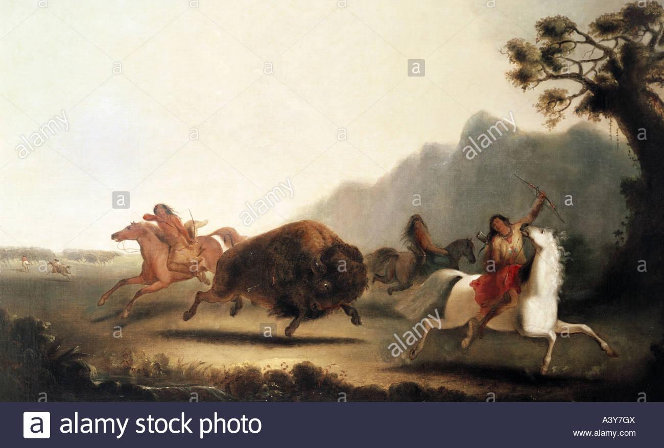 buffalo hunting painting stockfotos amp buffalo hunting