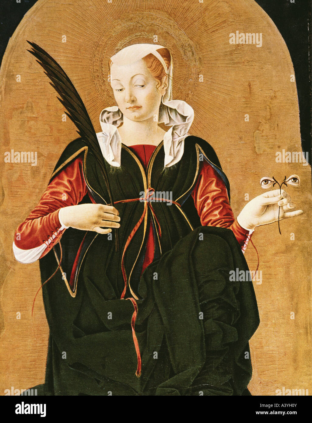 """Fine Arts, Cossa, Francesco del (ca. 1435 - ca. 1477), Malerei, 'Lucia', 1474, Öl auf Platte, Stockbild"