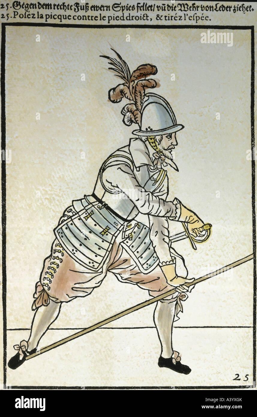 Militär, Infanterie, pikeman in Position, Holzschnitt, 'Wapenhandelinghe' von Jacques de Gheyn, 1610, Stockbild