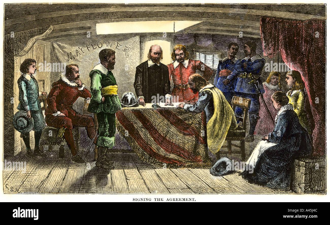 Pilger die Mayflower Compact 1620 unterzeichnen. Hand - farbige Holzschnitt Stockbild