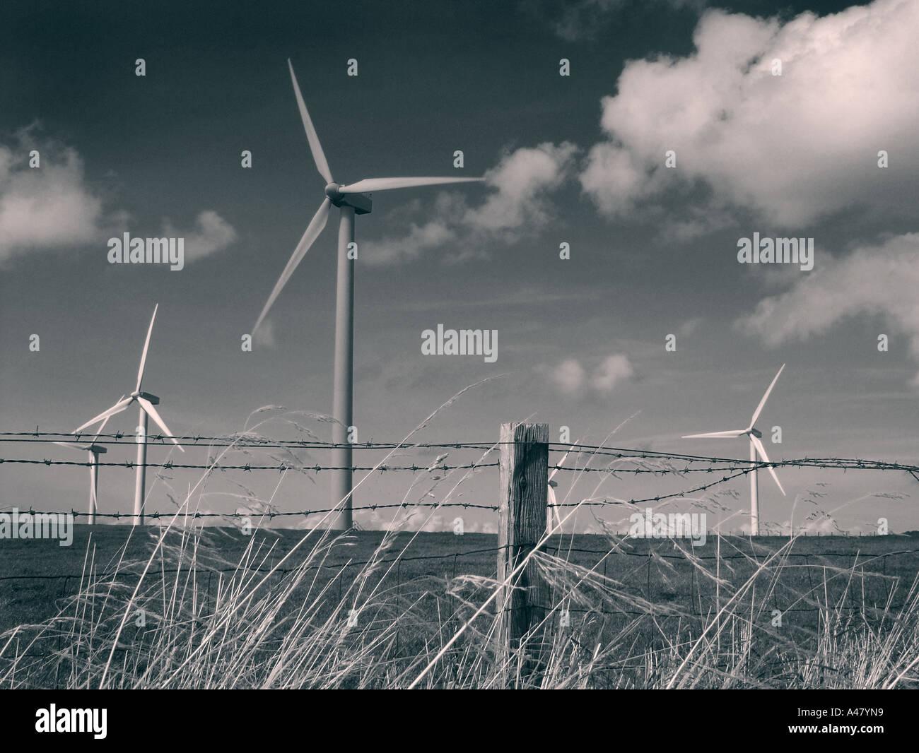 Wind-Turbinen, Seenplatte, Cumbria, England, auf dem Weg zum whitehaven Stockbild