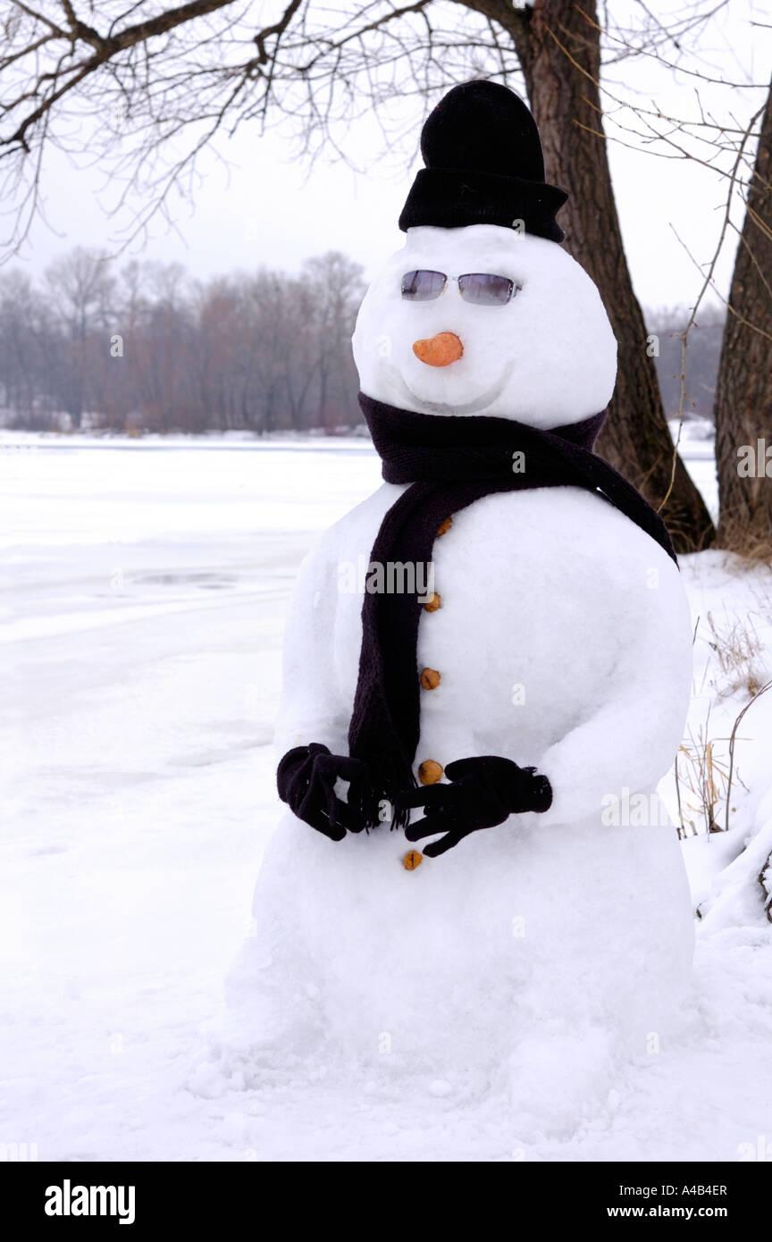 Lustige Ausgefallene Schneemann In Schwarzer Kleidung Und