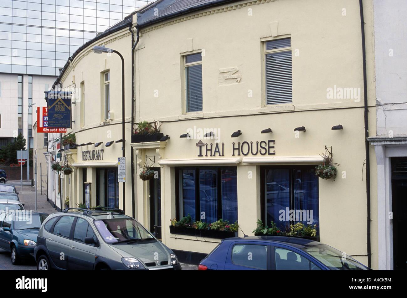 Außenaufnahme Thai House Restaurant Cardiff Wales Stockbild