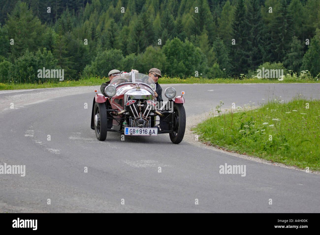 Morgan threewheeler gebaut 1934, Oldtimer rennen Ennstal Classic 2005, Steiermark, Österreich Stockbild