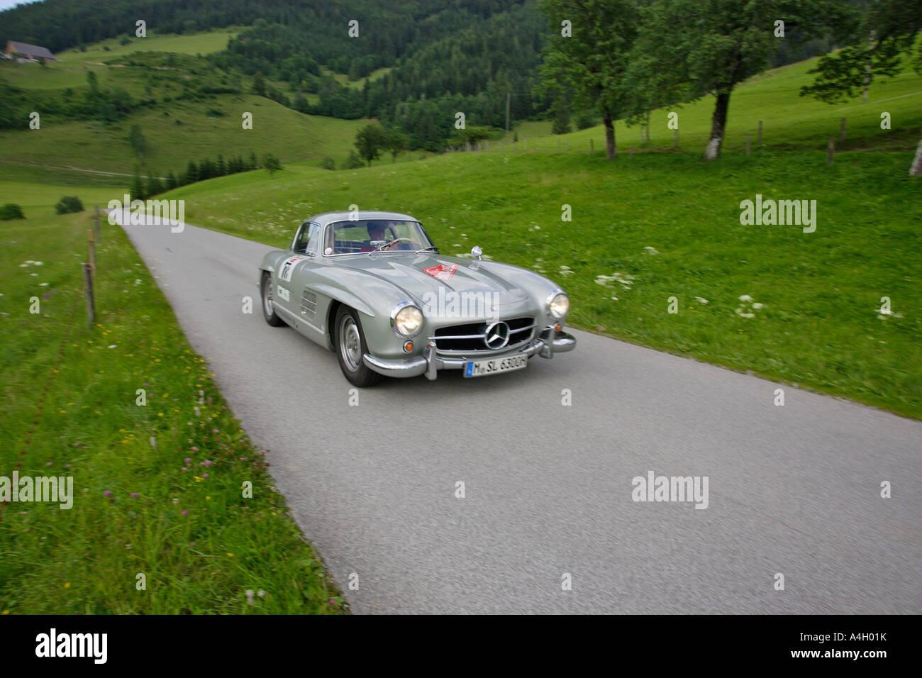 Mercedes-Benz 300 SL von 1955, Oldtimer rennen Ennstal Classic 2005, Steiermark, Österreich Stockbild