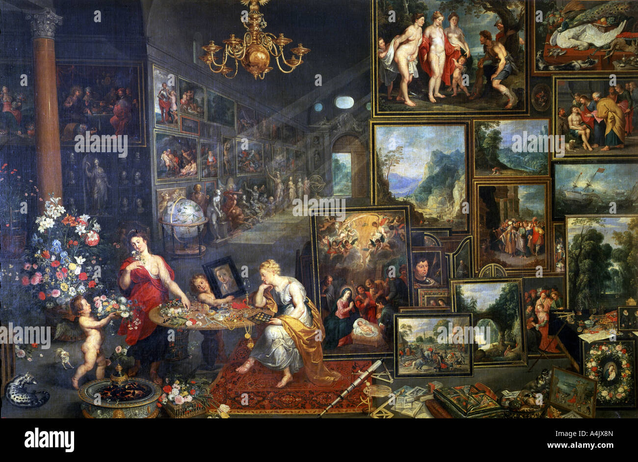 Allegorie der Anblick und Geruch c1590 1625 Stockbild