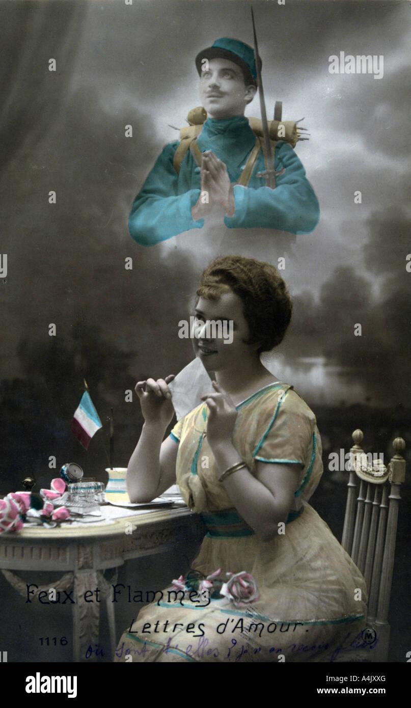 Französisch-WWI-Postkarte 1914 1918 Stockbild