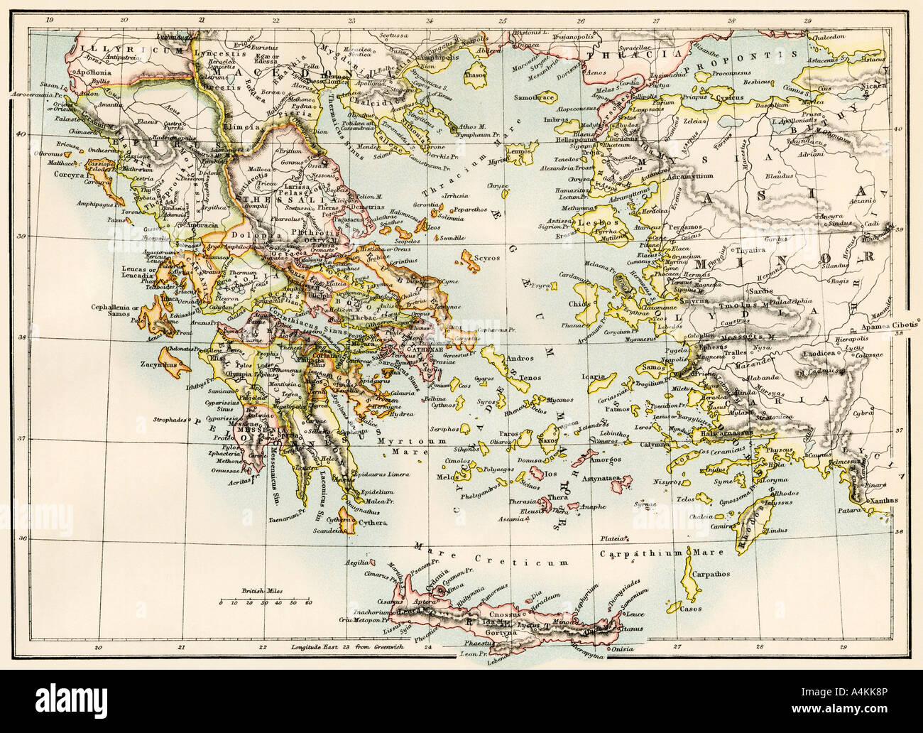 Karte Der Agais In Der Zeit Des Antiken Griechenlands