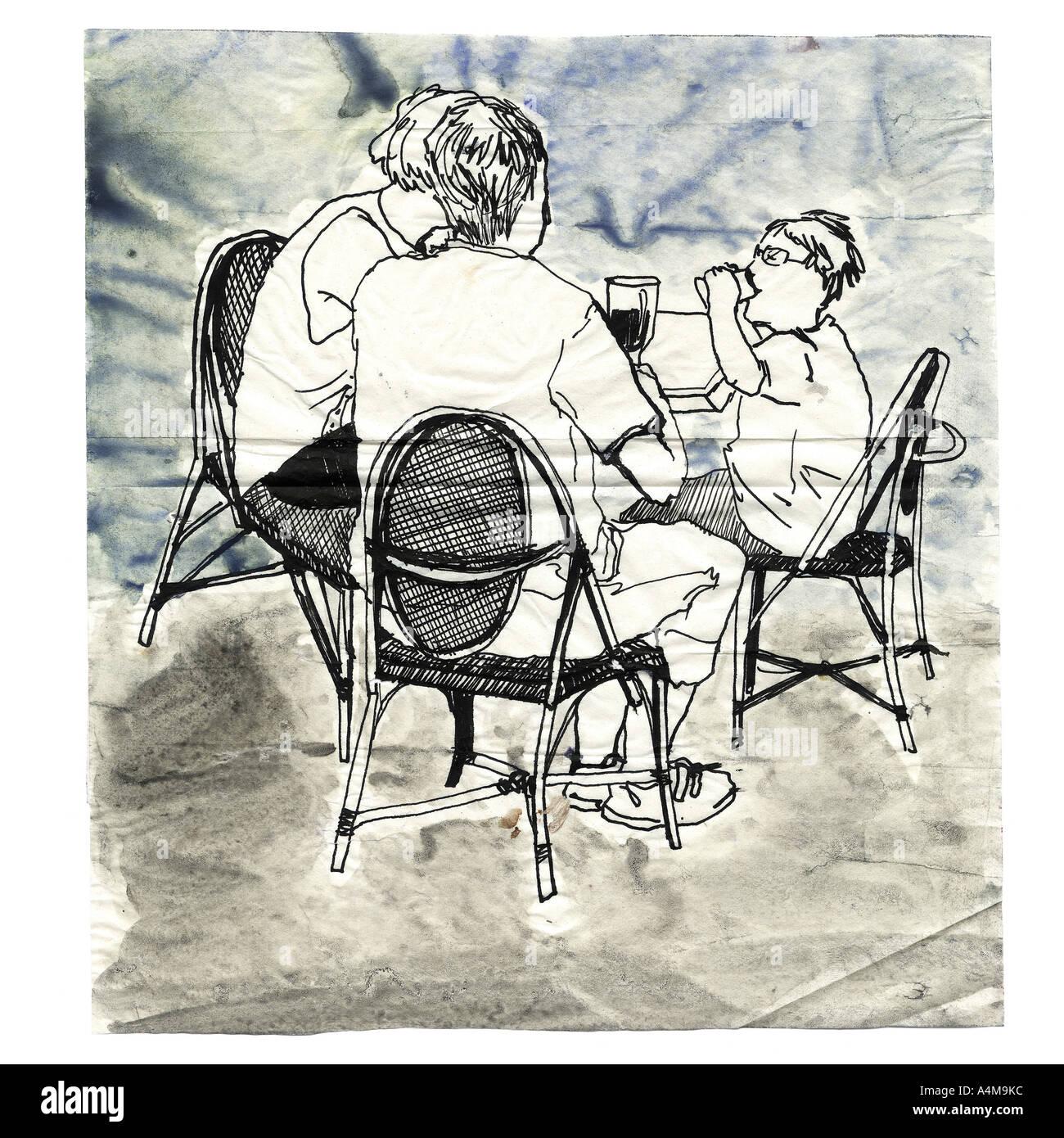 Leute am Tisch sitzen Stockfoto