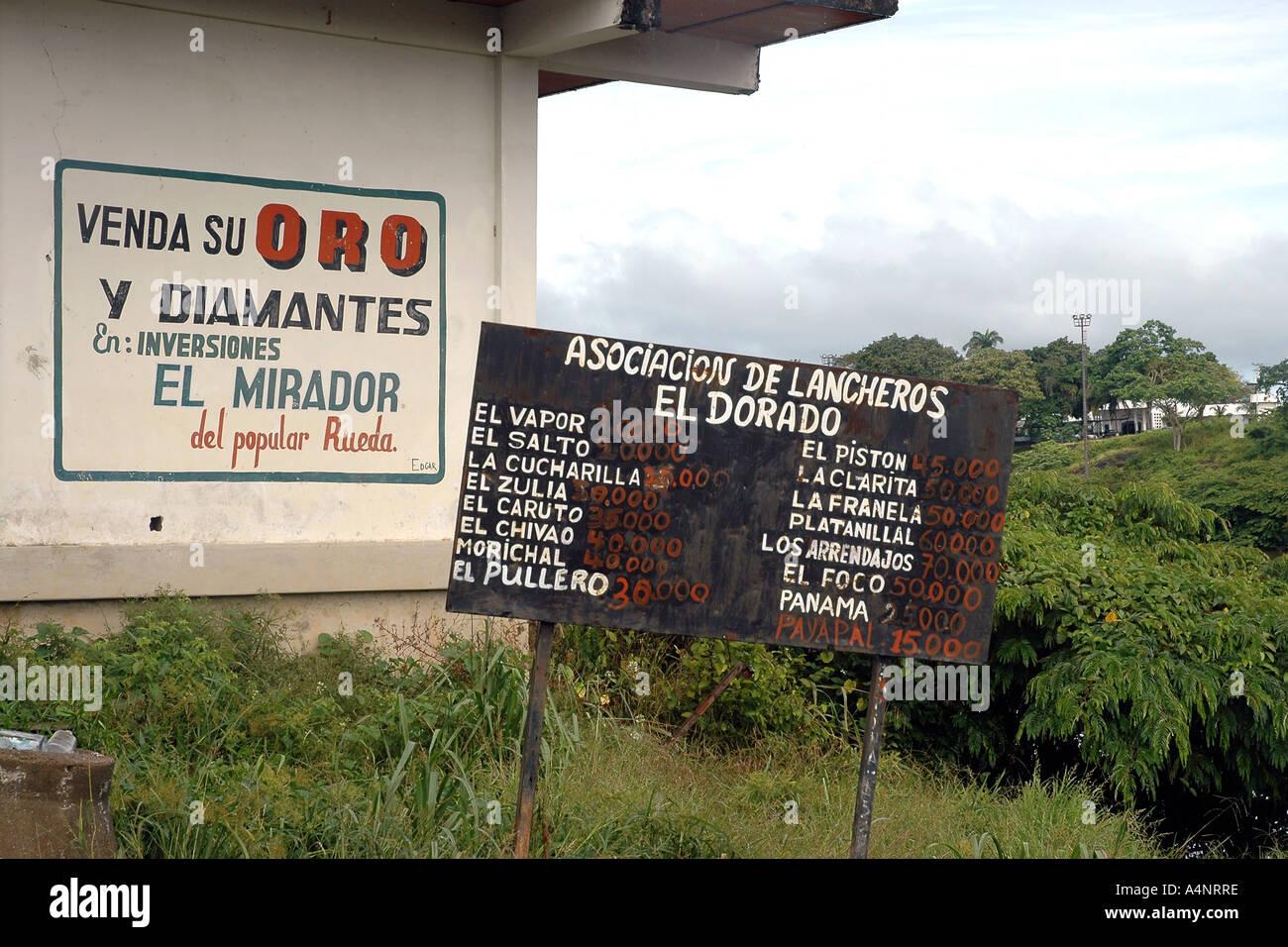 Oro ist Gold, El Dorado ein legendärer Name--in Venezuela eine Bergbaustadt noch mit dem Gefängnis über Fluss, die einst Papillon statt Stockbild