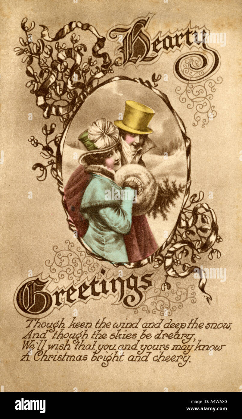 Eine sehr frühe Weihnachten Ansichtskarte eine Hand farbige ...
