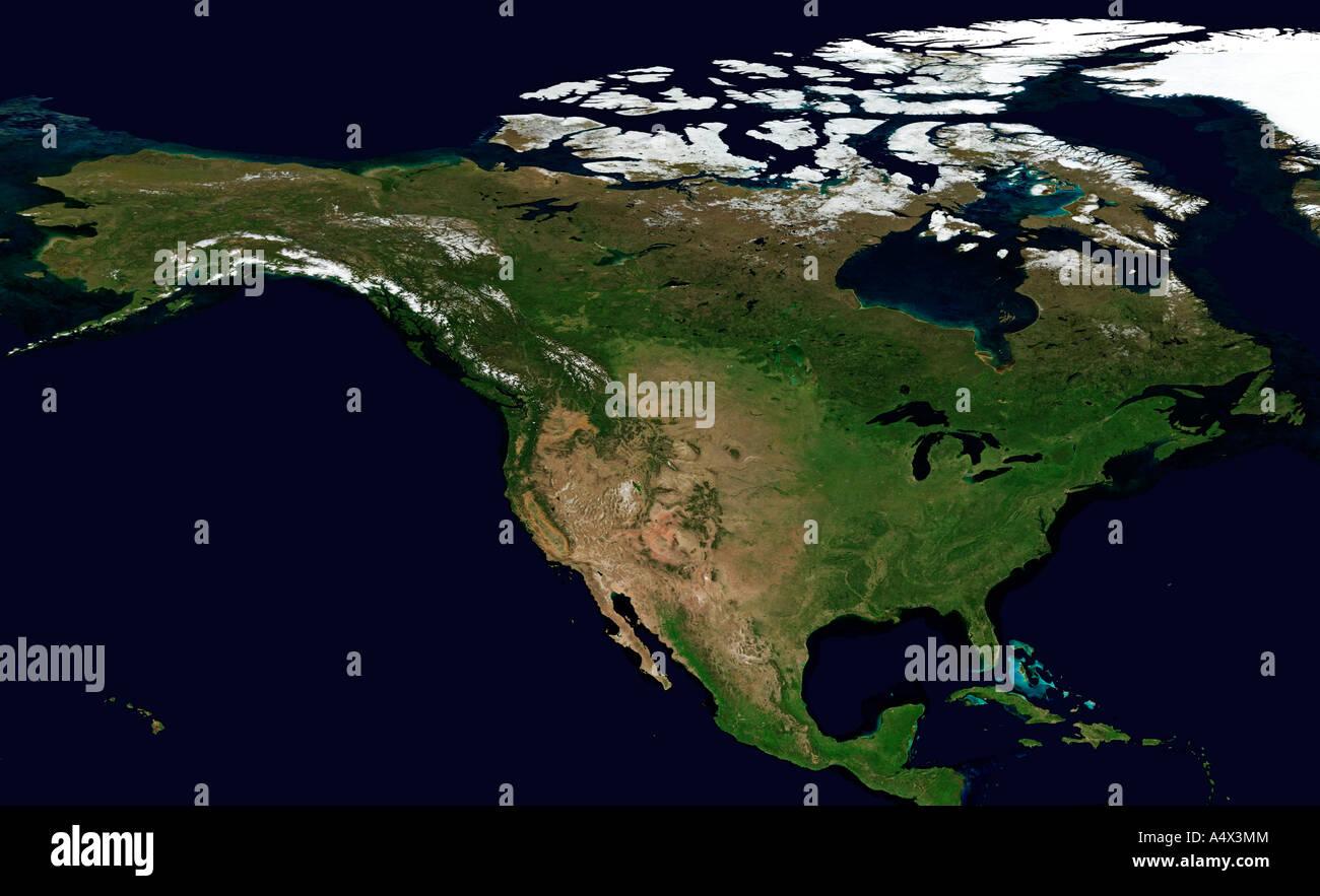 Nordamerikanischen Kontinent im August optimierte und erweiterte Version der ein original NASA image-Fernerkundung Stockbild