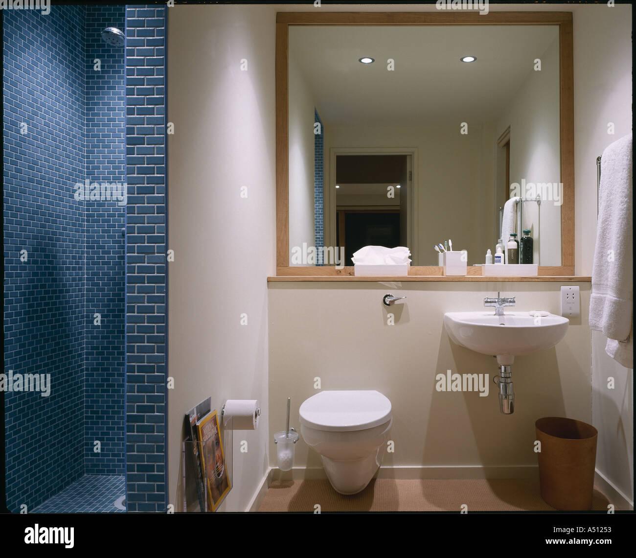 Die Lodge, Whithurst Park, innen modernes Badezimmer. Architekt ...