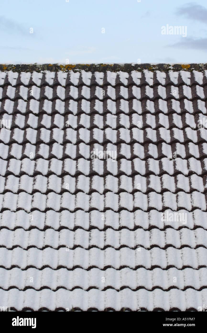 Schnee Auf Haus Dachziegel