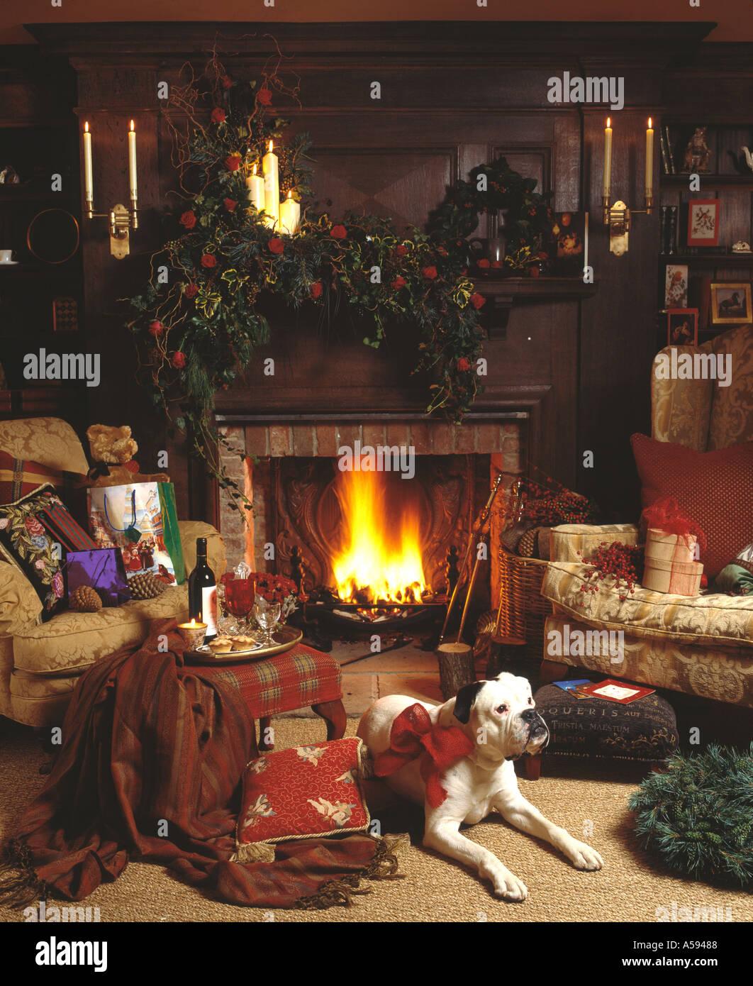 Hund Auf Teppich Am Brennenden Kamin Im Wohnzimmer Liegen Für Weihnachten  Dekoriert Mit Girlanden Auf Kaminsims