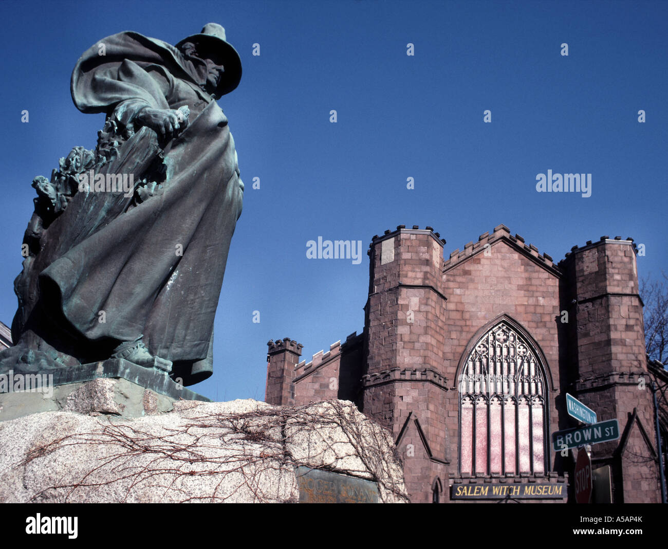 Statue von Roger Conant Salem Witch Museum Salem Massachusetts Stockbild