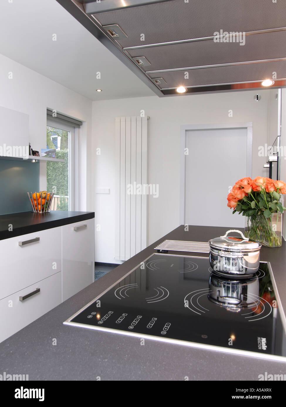 Moderne weiße Küche mit Induktionsherd und Design-Heizkörper ...