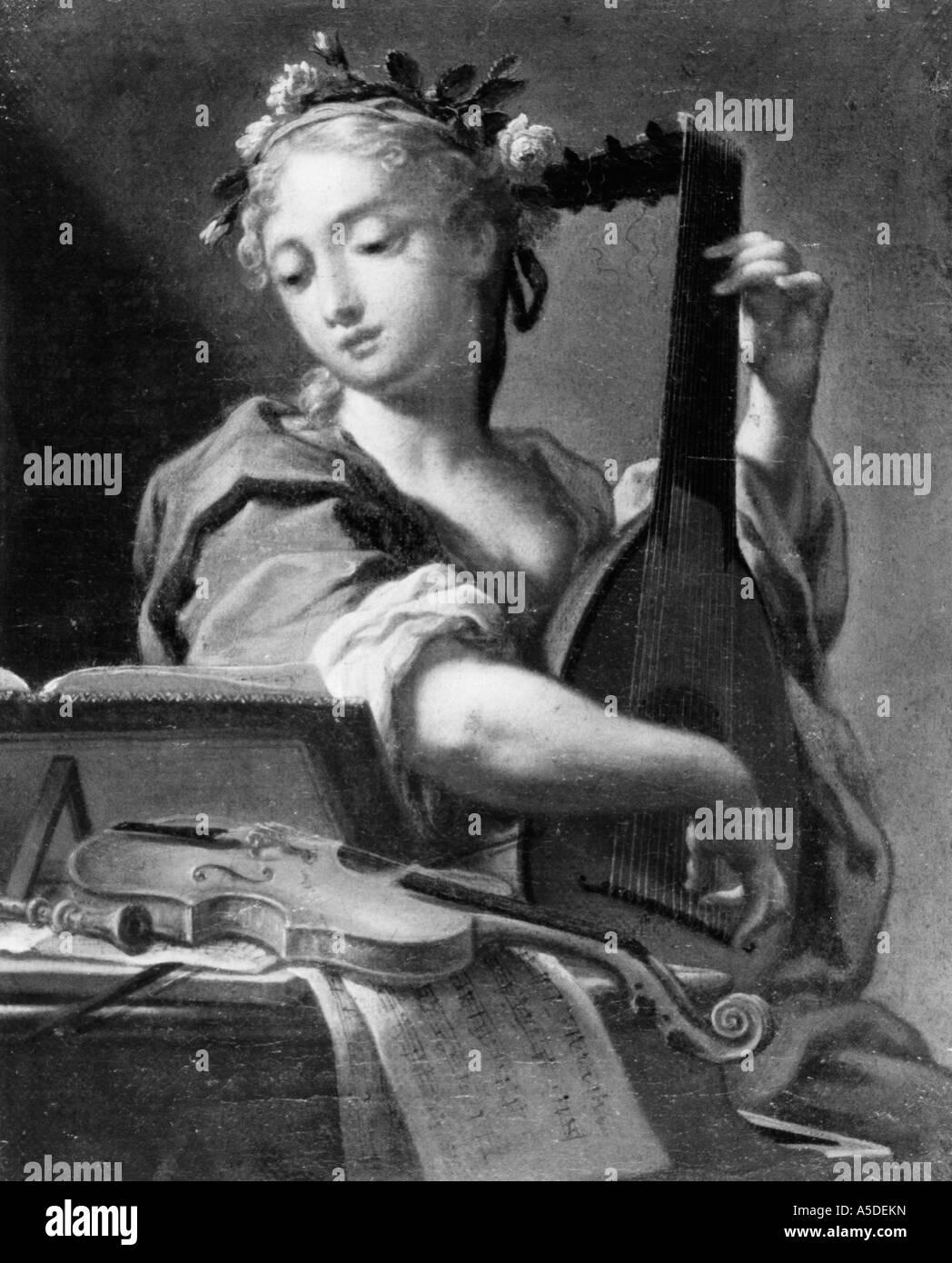 Frau spielt Laute Stockbild