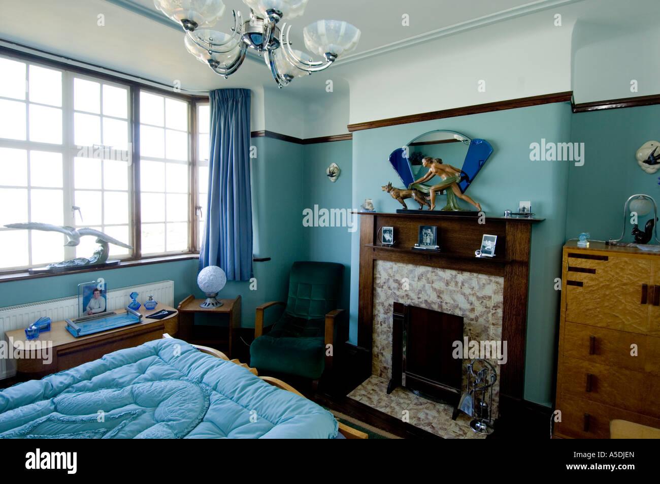 Art-Deco Jugendstil 1930 s Haus innen Schlafzimmer blau Farbe ...