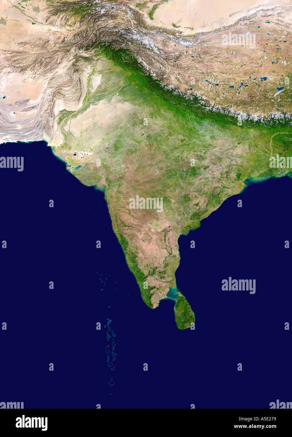Satellitenbild des indischen Subkontinents Erde aus dem Weltall Stockbild