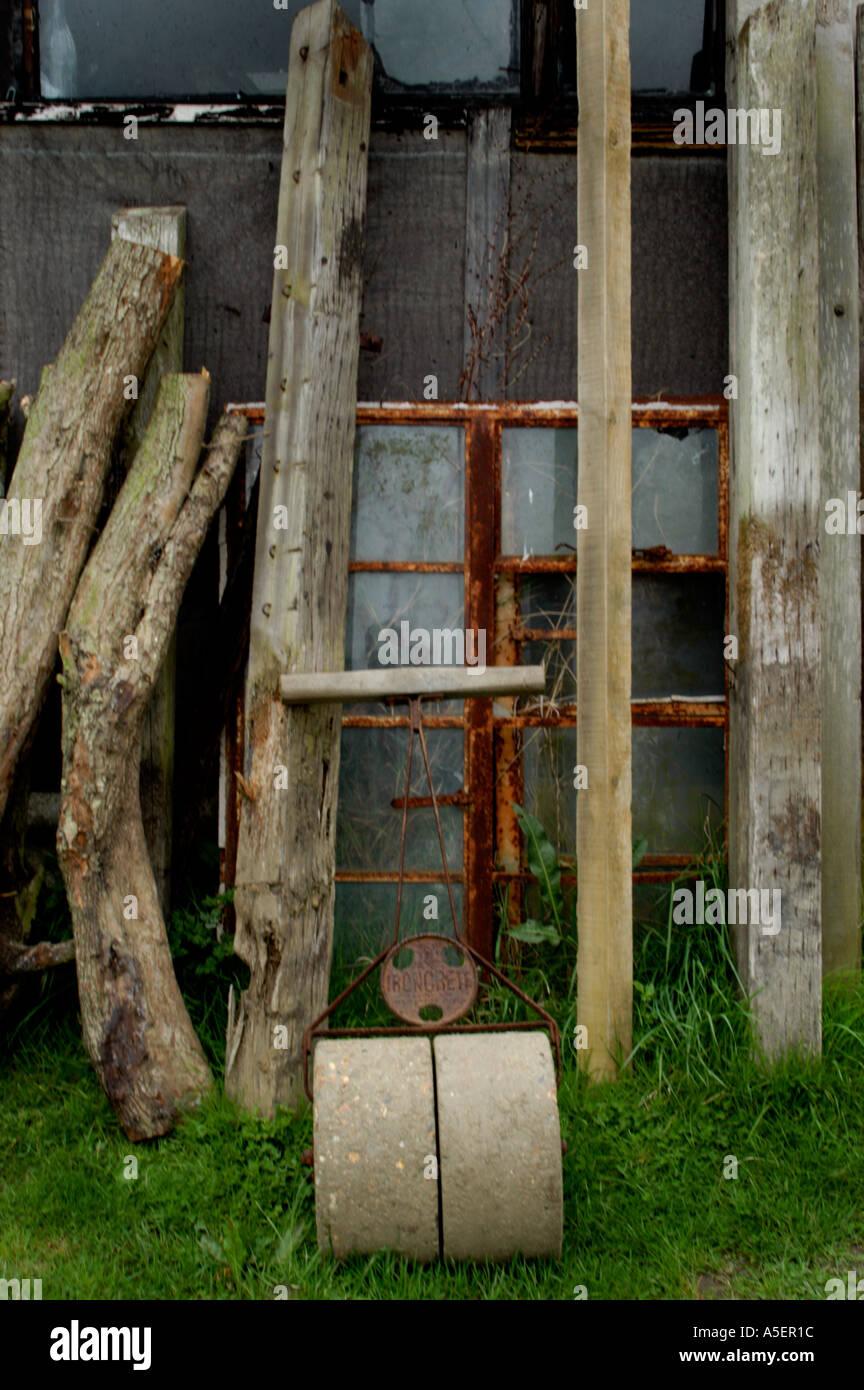 Old Garden Stone Roller Rusty Stockfotos & Old Garden Stone Roller ...