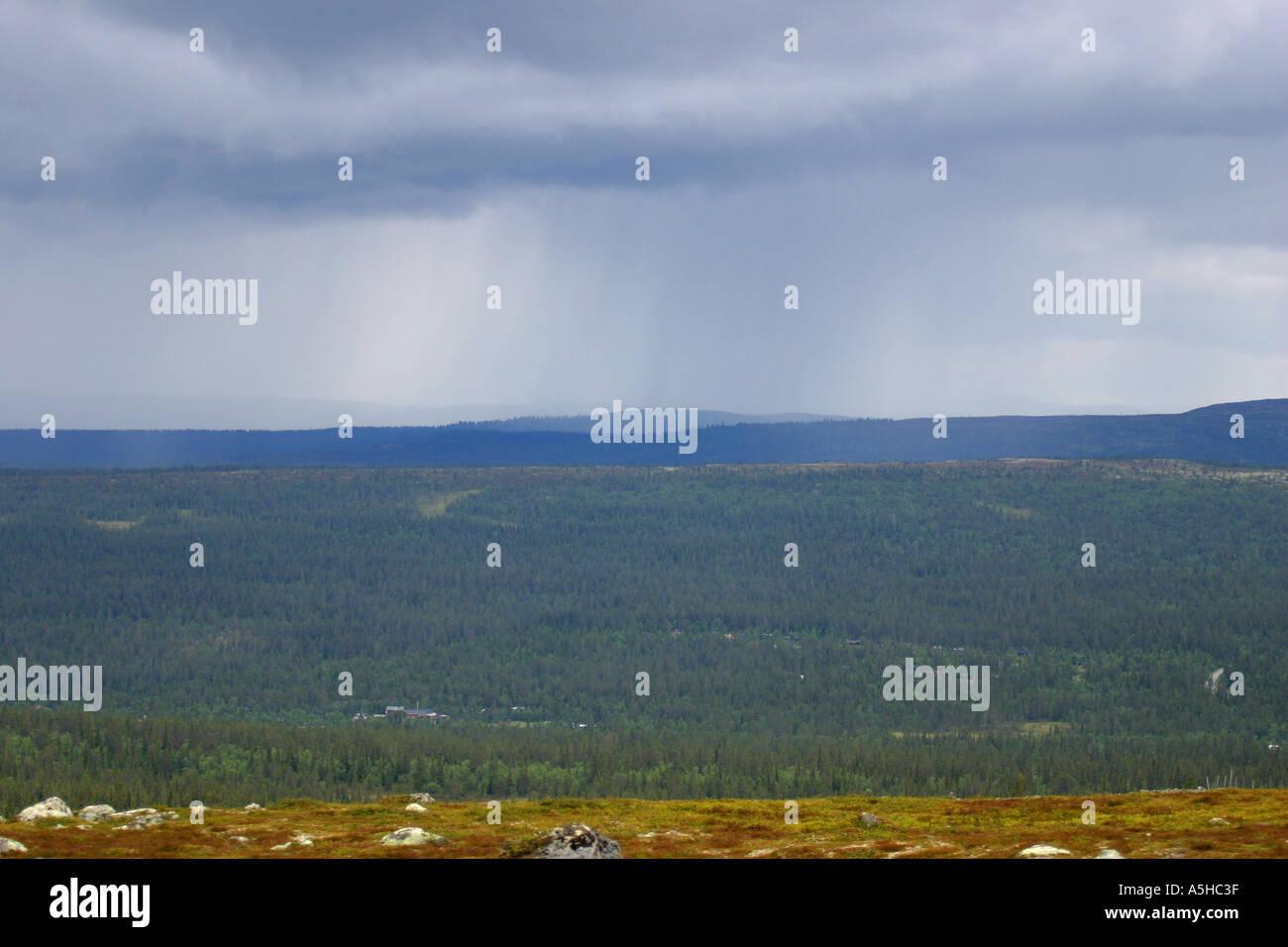 Regen Sie in den schwedischen Bergen Stockbild