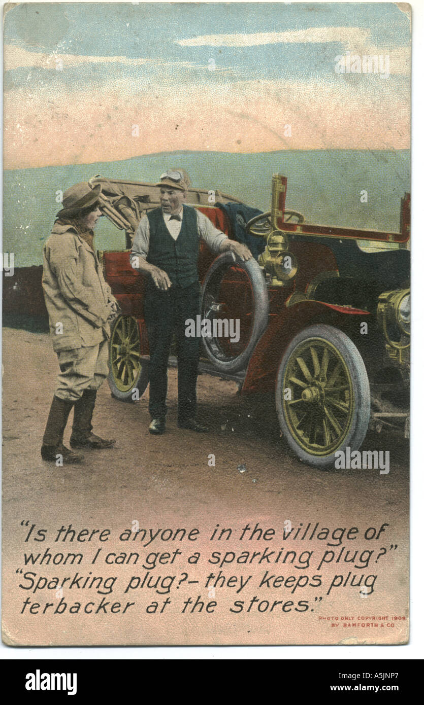 Comic-Postkarte postalisch verwendet 1908 Stockbild