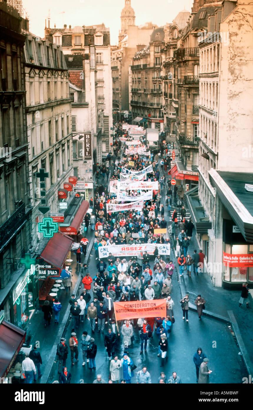 Paris Frankreich, Demonstration der französischen Gebäude arbeiten Gewerkschaften fordern Finanzierung für Wohnbau von der Regierung Stockbild