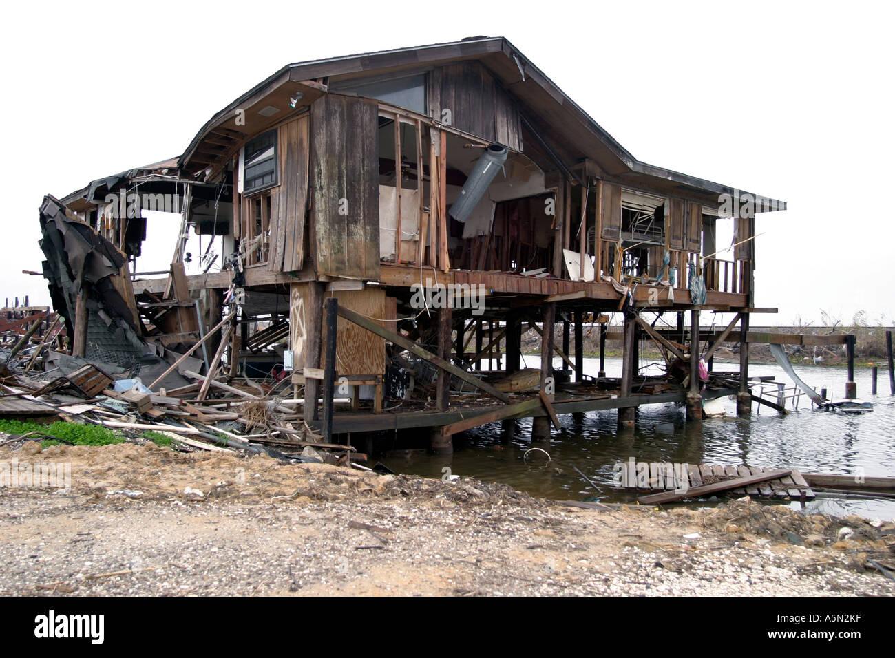 Zerstörung durch den Hurrikan Katrina in New Orleans und Umgebung. Stockbild