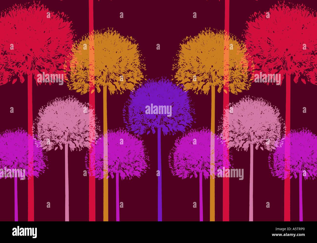 Grafisches Muster - Allium Abbildung Stockbild
