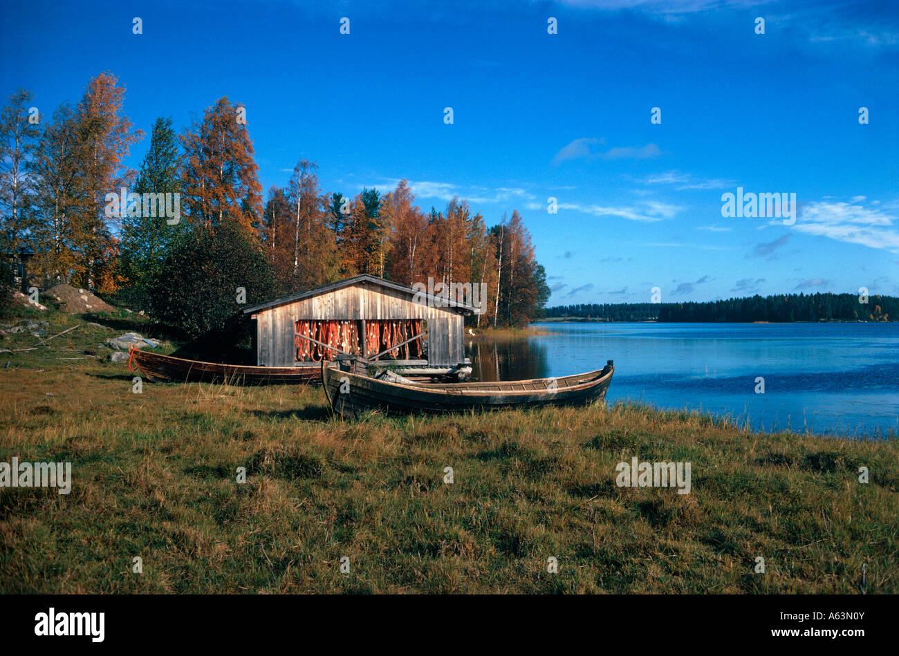 Freizeit Ferienhaus am See in der Nähe Stadt Muonio Region Lappland Finnland Stockbild