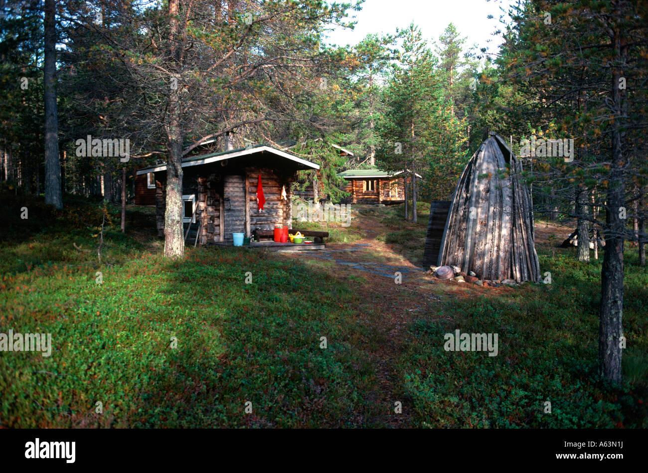 Freizeit-Hütte und Sauna-Hütte nahe der Stadt von Muonio Region Lappland Finnland Stockbild