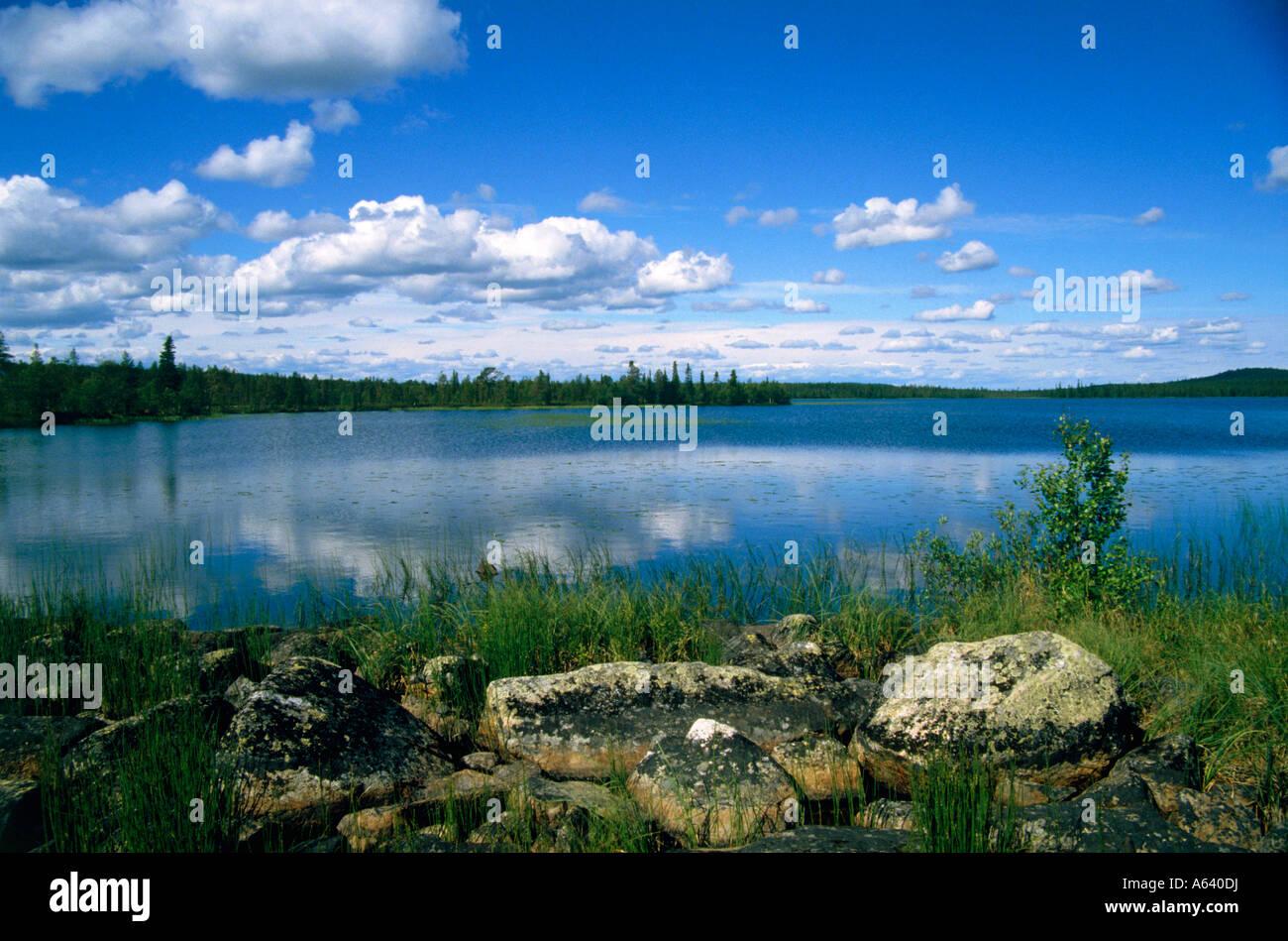 See in der Nähe Stadt Muonio Region Lappland Finnland Stockbild