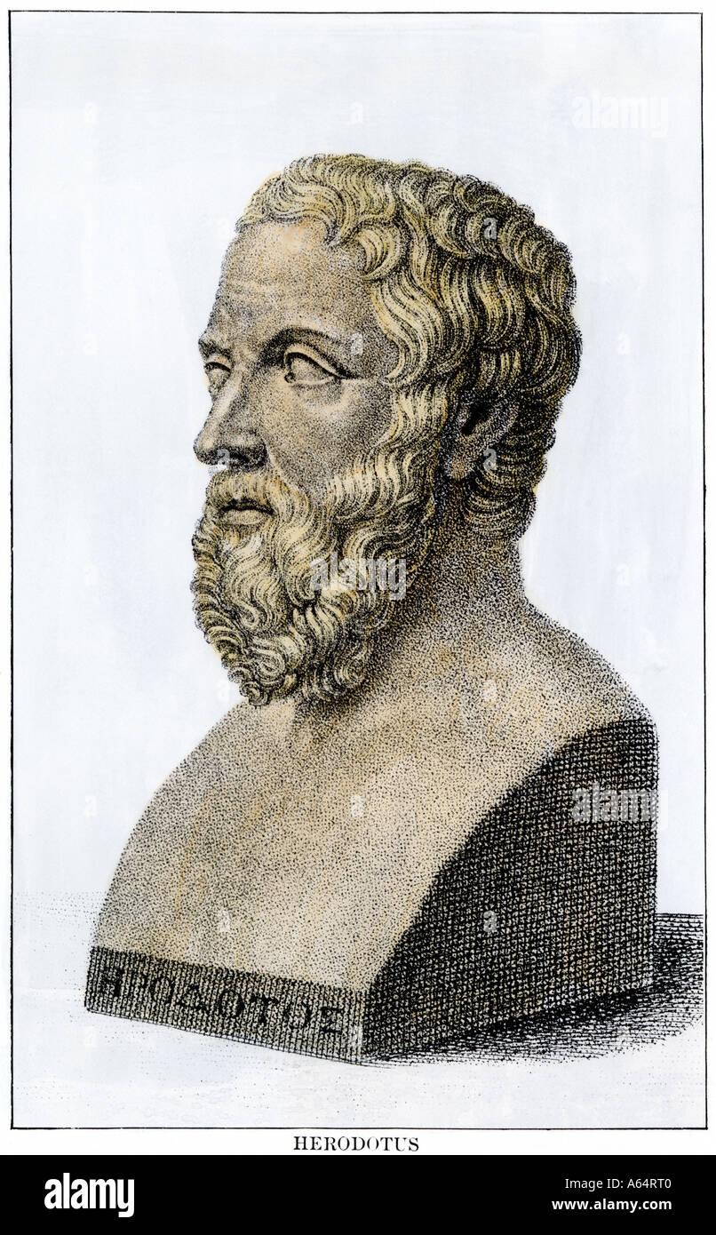 Herodot, der Vater der Geschichte. Hand - farbige Holzschnitt Stockbild
